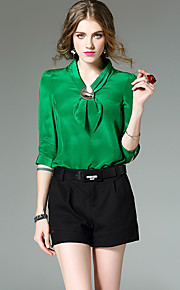 Women's Going out Simple Spring Shirt,Solid V Neck ¾ Sleeve Blue White Green Silk Thin