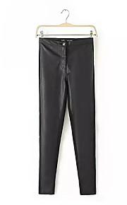 Damen Lose Chinos Hose-Ausgehen Lässig/Alltäglich Einfach Street Schick einfarbig Mittlere Hüfthöhe Kordelzug Polyester Micro-elastisch