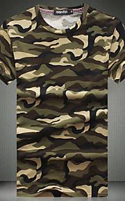 メンズ カジュアル/普段着 夏 Tシャツ,シンプル ラウンドネック カモフラージュ コットン 半袖 薄手
