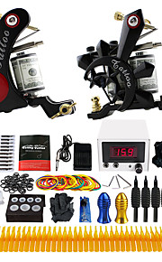 Complete Tattoo Kit 2 Tattoo Machine Set  Power Supply Foot Pedal Needle TK225