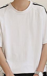 メンズ カジュアル/普段着 夏 Tシャツ,シンプル ラウンドネック ソリッド コットン 半袖 薄手
