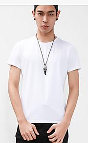 メンズ カジュアル/普段着 夏 シャツ,シンプル ラウンドネック ソリッド コットン 半袖 ミディアム