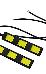 1 paar auto styling waterdichte cob chip LED DRL dagrijverlichting wit 12V mist driving koplamp