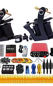 Complete Tattoo Kit 2 Pro Tattoo Machine Power Supply Foot Pedal Needles TK257