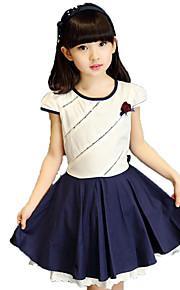 Mädchen Kleid einfarbig Druck Baumwolle Polyester Sommer Kurzarm