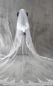 Свадебные вуали Два слоя Короткая фата Фата для венчания Кружевная кромка Тюль