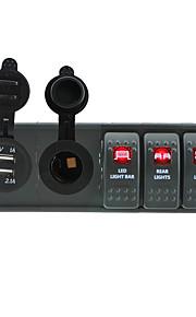 dc 12v / 24v geleid digitale 3.1a Dual USB oplader stopcontact met toggle rocker schakelaars jumper draden en huisvesting houder