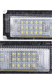 2 x hvid 18 førte nummer nummerplade-lygter lampe pære til BMW Mini Cooper R50 R53