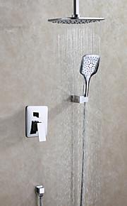 Contemporain Système de douche Douche pluie Douchette inclue with  Soupape céramique Deux poignées trois trous for  Chrome , Robinet de