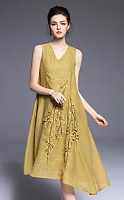 JOJO HANS Women's Going out Cute Swing DressEmbroidered V Neck Midi Sleeveless Yellow Polyester Spring Summer Mid Rise Micro-elastic Medium
