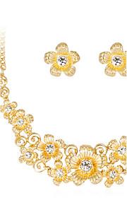 Set de Bijoux Collier Boucles d'oreilles Mode euroaméricains Strass Alliage Forme de Fleur 1 Collier 1 Paire de Boucles d'Oreille Pour