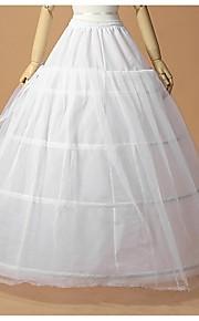 תחתונית  A- קו תחתוניות סליפ שמלת נשף אורך עד לרצפה 2 רשתות בד טול פוליאסטר לבן