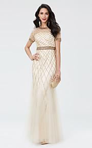 TS Couture® ערב רישמי נשף צבאי שמלה - נוצץ וזוהר בתולת ים \ חצוצרה עם תכשיטים באורך הקרסול טול נצנצים עם חרוזים