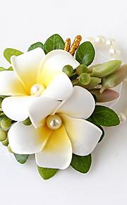פרחי חתונה בצורה חופשיה שושנים זר פרחים לפרק כף יד חתונה חתונה/ אירוע סאטן חרוז