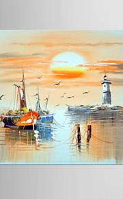 Pintados à mão Abstrato Horizontal,Moderno Mediterrêneo 1 Painel Tela Pintura a Óleo For Decoração para casa