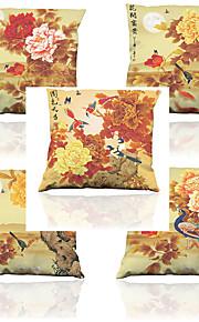 5 pcs Naturel/Organique Polyester Housse de coussin Taie d'oreiller,Fleur Solide Texturé CarreauxDécontracté Rétro Traditionnel/Classique