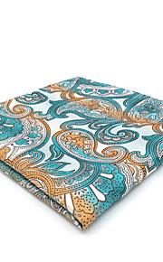 CH4 Men's Pocket Square Handkerchiefs Blue Orange White Paisley 100% Silk Business New Jacquard Woven