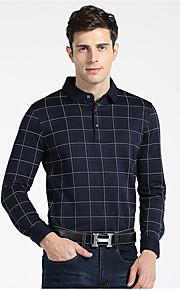 Heren Eenvoudig Herfst Overhemd,Casual/Dagelijks Blokken Klassieke boord Lange mouw Katoen Medium