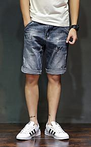 Herr Enkel Mikroelastisk Jeans Shorts Byxor,Mellanhög midja Ledig Enfärgat
