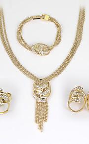 Set de Bijoux Boucles d'oreilles / Bracelet Collier / Anneau Mode euroaméricains Strass Alliage Forme Géométrique1 Collier 1 Paire de