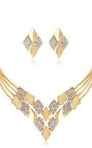Set de Bijoux Collier Boucles d'oreilles Mode euroaméricains Strass Alliage Forme Géométrique 1 Collier 1 Paire de Boucles d'Oreille Pour