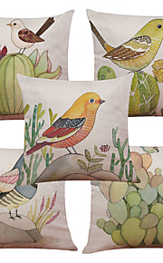 Set of 5 Modern Simple Cactus Bird Pattern  Linen Pillowcase Sofa Home Decor Cushion Cover (18*18inch)