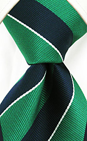 Y27 Handmade Men's Neckties Green Blue Stripes 100% Silk Business New Casual Classic