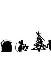 מדבקות קיר מדבקות קיר סגנון קריקטורה עכבר חג המולד עץ pvc מדבקות קיר