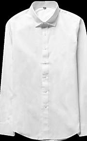 Heren Eenvoudig Herfst Overhemd,Casual/Dagelijks Effen Klassieke boord Lange mouw Katoen Dun