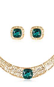 Set de Bijoux Collier Boucles d'oreilles Mode euroaméricains Verre Alliage Forme Géométrique 1 Collier 1 Paire de Boucles d'Oreille Pour