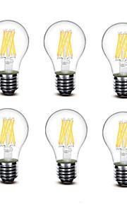 5.5W E27 Ampoules à Filament LED A60(A19) 8 COB 700 lm Blanc Chaud Décorative AC220 AC230 AC240 V 6 pièces