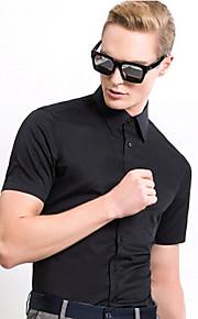 Heren Eenvoudig Overhemd,Uitgaan Casual/Dagelijks Feestje/cocktail Effen Overhemdkraag Korte mouw Katoen