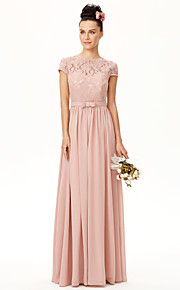 A-Line Jewel Neck Floor Length Chiffon Lace Bridesmaid Dress with Bow(s) Sash / Ribbon Pleats by LAN TING BRIDE®