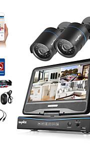 Sannce® 4ch 2 stk 720p lcd dvr vejrbestandigt sikkerhedssystem understøttet analog ahd tvi ip kamera uden hdd