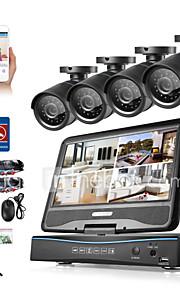 Sannce® 8ch 4pcs 720p lcd dvr vejrbestandigt overvågningssikkerhedssystem understøttet analog ahd tvi ip kamera