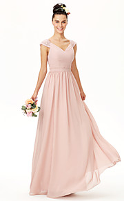 A-Line V-neck Floor Length Chiffon Bridesmaid Dress with Bow(s) Lace Sash / Ribbon Pleats Criss Cross Ruching by LAN TING BRIDE®