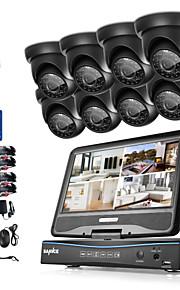 Sannce® 8ch 8pcs 720p lcd dvr vejrfast hjemme overvågningssikkerhed ahd tvi ip kamera