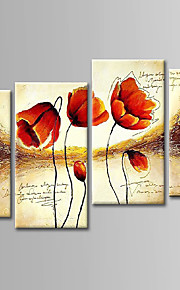 Hand-Painted  Abstract Flowers Oil Painting Set of 4 With Stretcher For Home Decoration Ready to Hang
