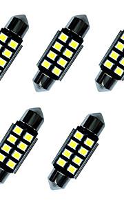5pcs verduisterde led lichten 36mm 1w 8smd 2835 chip wit 80-100lm 6000-6500k dc12v canbus leeslamp nummerplaat lichten