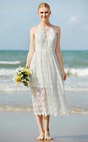 Fourreau / Colonne Bijoux Longueur Genou Dentelle Robe de mariée avec Dentelle par LAN TING BRIDE®