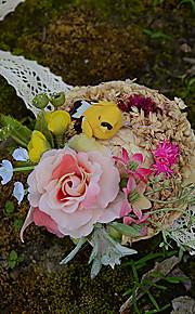 Bouquet sposa Braccialetto floreale Matrimonio Taffetà Fiori secchi 8 cm ca.