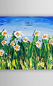 Hand-Painted  Impression White  Flowers by Knife  Oil Painting With Stretcher For Home Decoration Ready to Hang