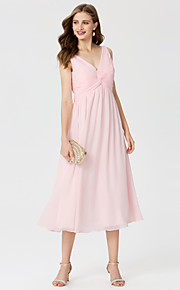 A-Line Princess V-neck Tea Length Chiffon Bridesmaid Dress with Beading Criss Cross by LAN TING BRIDE®