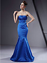 Lanting Bride® Floor-length Satin Bridesmaid Dress Trumpet / Mermaid Strapless Plus Size / Petite with Beading / Draping
