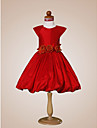 A-line/Princess/Ball Gown Knee-length Flower Girl Dress - Taffeta Short Sleeve