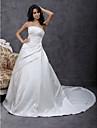 LAN TING BRIDE Corte en A Princesa Vestido de novia - Clasico y Atemporal Elegante y Lujoso Simplemente Sublime Capilla Sin Tirantes Saten