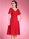 Lanting Bride® A-line Plus Size / Petite Mother of the Bride Dress Knee-length Short Sleeve Chiffon with Pleats