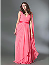 Prom / Formal Evening / Military Ball Dress - Plus Size / Petite A-line / Princess V-neck Floor-length Chiffon / Stretch Satin