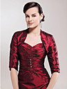 Wedding  Wraps Coats/Jackets Half-Sleeve Taffeta Burgundy Party/Evening T-shirt Open Front