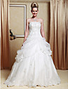 Lanting A-line/Princess Plus Sizes Wedding Dress - Ivory Floor-length Strapless Satin/Organza
